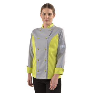 Ženska kuharska bluza siva sa žutozelenim elementima
